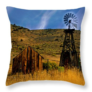 Rustic Windmill Throw Pillow by Marty Koch