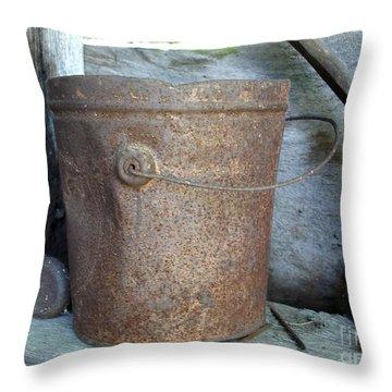 Rusty Bucket Throw Pillow by Kerri Mortenson