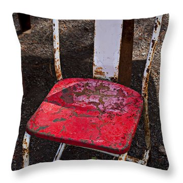 Rusty Metal Chair Throw Pillow by Garry Gay