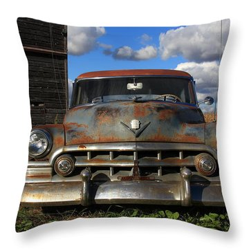 Rusty Old Cadillac Throw Pillow by Lyle Hatch