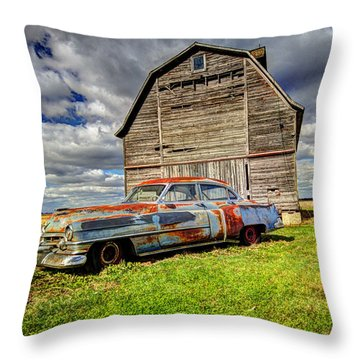 Rusty Old Cadillac Throw Pillow