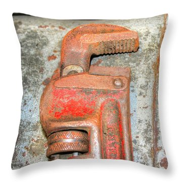 Rusty Pipe Wrench Throw Pillow by Ester  Rogers