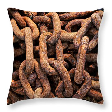 Rusty Ships Chain Throw Pillow