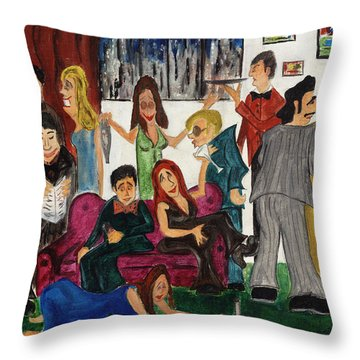 Throw Pillow featuring the painting Ruthys Party by Stuart B Yaeger