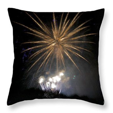 Throw Pillow featuring the photograph Rvr Fireworks 1 by Mark Dodd