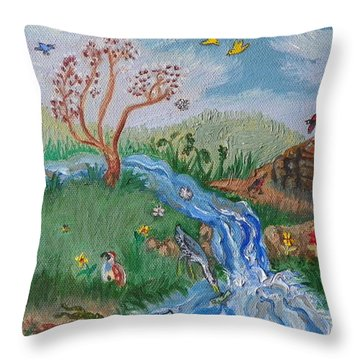 S Is For Stream Detail From Childhood Quilt Painting Throw Pillow