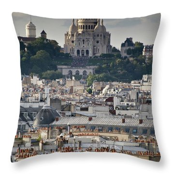 Sacre Coeur Rooftops Throw Pillow by Gary Eason