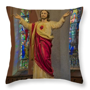 Sacred Heart Of Jesus Throw Pillow by Susan Candelario