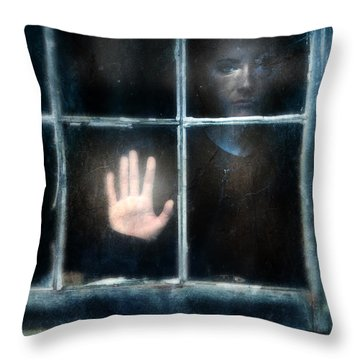 Sad Person Looking Out Window Throw Pillow by Jill Battaglia