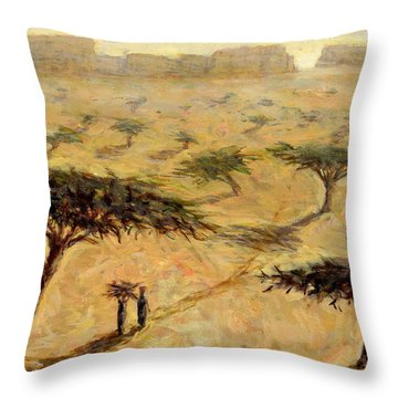 Sahelian Landscape Throw Pillow by Tilly Willis