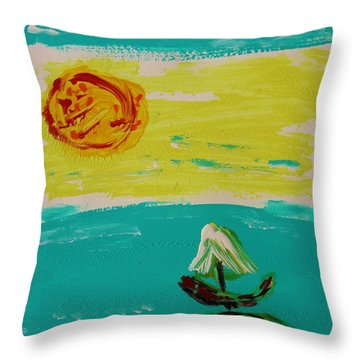 Sail And Hot Sun Throw Pillow by Mary Carol Williams