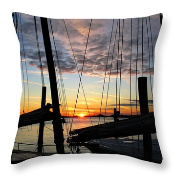 Sail At Sunset Throw Pillow