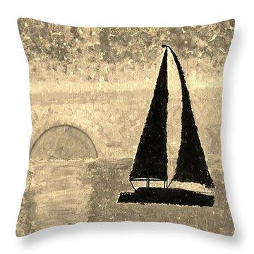 Sail In Sepia Sea Throw Pillow by Sonali Gangane