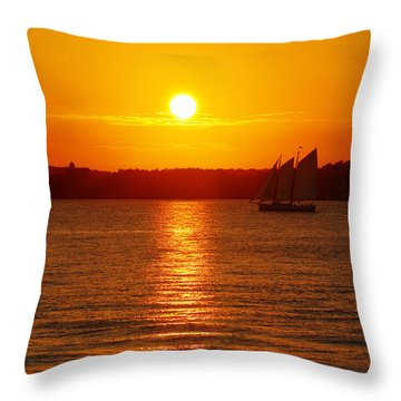Sail Off Into The Sunset Throw Pillow by Andrew Pacheco