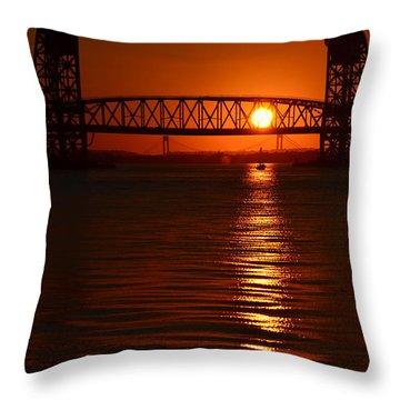 Throw Pillow featuring the photograph Sailboat Bridges Sunset by Maureen E Ritter