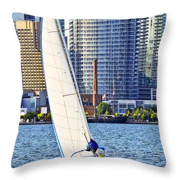 Sailboat In Toronto Harbor Throw Pillow by Elena Elisseeva