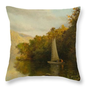 Sailboat On River Throw Pillow by Arthur Quarterly