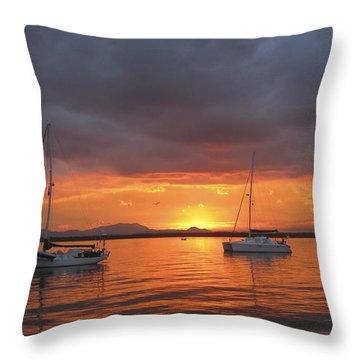 Throw Pillow featuring the digital art Sailboats At Anchor by Anne Mott