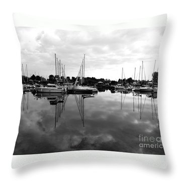 Sailboats At Bluffers Marina Toronto Throw Pillow by Susan  Dimitrakopoulos