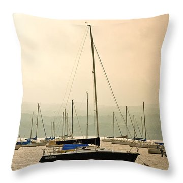 Sailboats Moored In The Harbor Throw Pillow by Ann Murphy