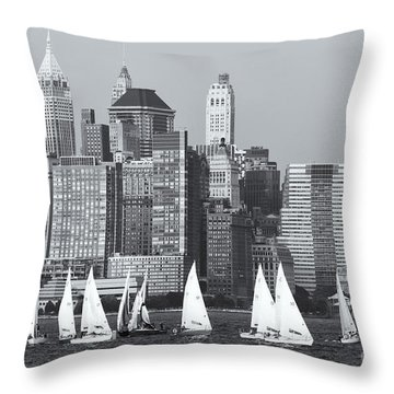 Sailboats On The Hudson V Throw Pillow by Clarence Holmes