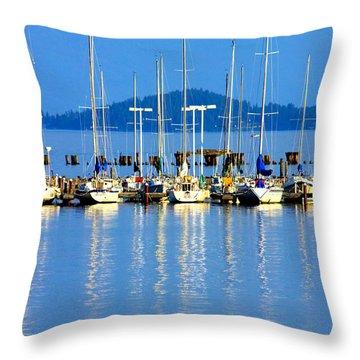 Sailboats Reflections Throw Pillow