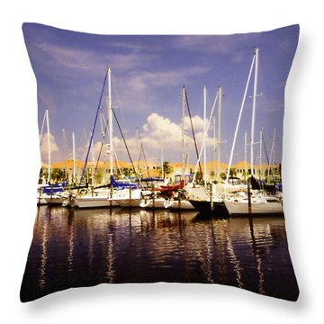 Throw Pillow featuring the photograph Sailboats Waiting by Rosalie Scanlon