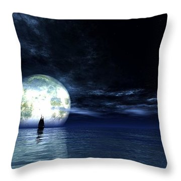Throw Pillow featuring the digital art Sailing At Night... by Tim Fillingim