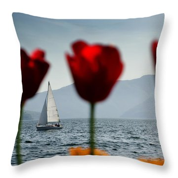 Sailing Boat And Tulip Throw Pillow by Mats Silvan