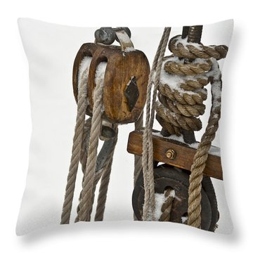 Sailing Boat Detail With Snow Throw Pillow by Heiko Koehrer-Wagner