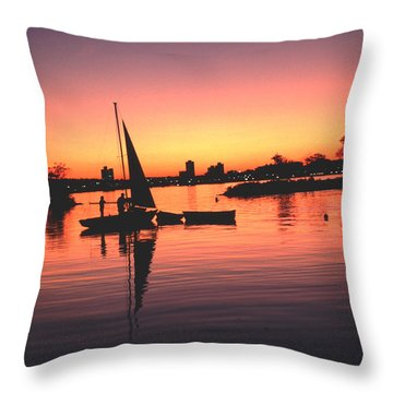 Throw Pillow featuring the photograph Sailing End Of The Day Backbay  Boston by Tom Wurl
