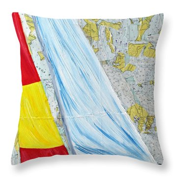 Sailing From The Charts Throw Pillow by Michael Lee