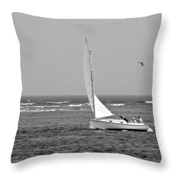 Sailing In Bw Throw Pillow