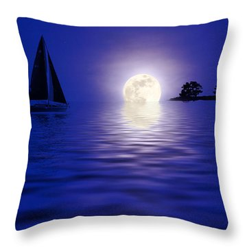 Sailing Into The Moonlight Throw Pillow