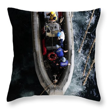 Sailors Conduct A Man Overboard Drill Throw Pillow by Stocktrek Images
