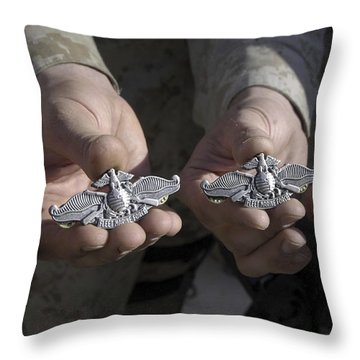 Sailors Display Their Fleet Marine Throw Pillow by Stocktrek Images