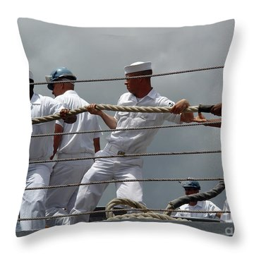 Sailors Heave Around On A Mooring Line Throw Pillow