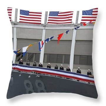 Sailors Man The Rails On The Guided Throw Pillow