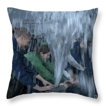 Sailors Participate In A Pipe Patching Throw Pillow