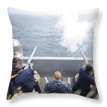 Sailors Perform A 21-gun Salute Aboard Throw Pillow by Stocktrek Images