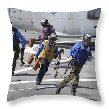 Sailors Remove The Chocks And Chains Throw Pillow
