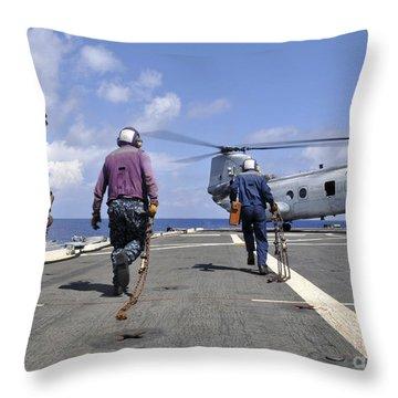 Sailors Rush To Chock And Chain Throw Pillow
