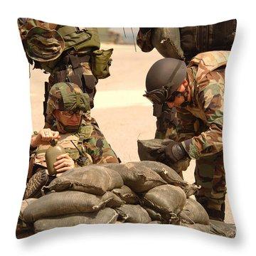 Sailors Stack Sand Bags Throw Pillow