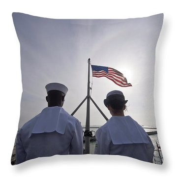 Sailors Stand By To Lower The Ensign Throw Pillow by Stocktrek Images