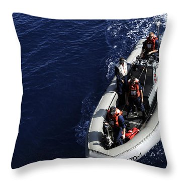 Sailors Stand Watch On A Rigid-hull Throw Pillow by Stocktrek Images