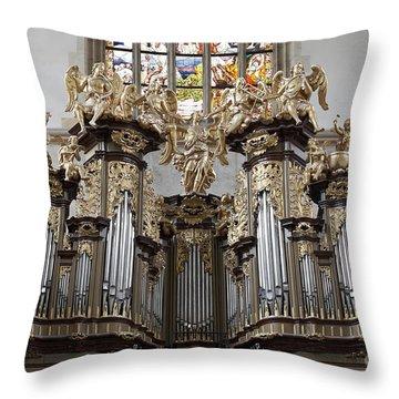 Saint Barbara Church - Organ Loft And Stained Glass In The Churc Throw Pillow by Michal Boubin