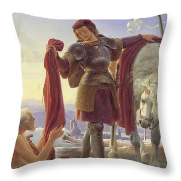 Saint Martin And The Beggar Throw Pillow by Alfred Sethel