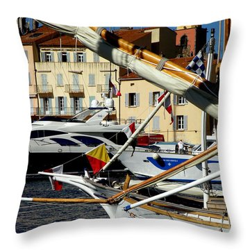 Saint Tropez Harbor Throw Pillow by Lainie Wrightson