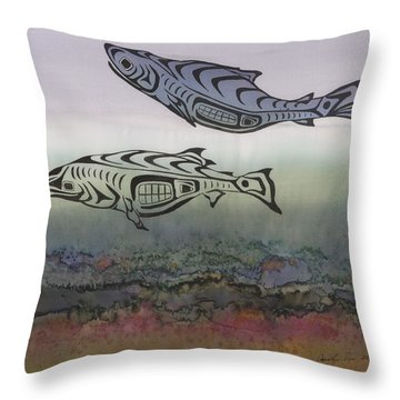 Salmon Stream Throw Pillow