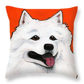 Samoyed Throw Pillow by Leanne Wilkes